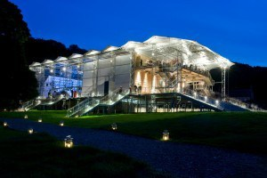 Garsington Opera's pavilion at the Wormsley Estate. Lanterns along the paths light your way home after the opera.